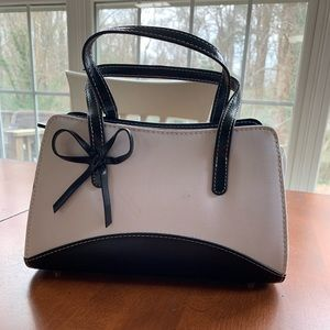 Handbags - White fabric handbag with black trim never used